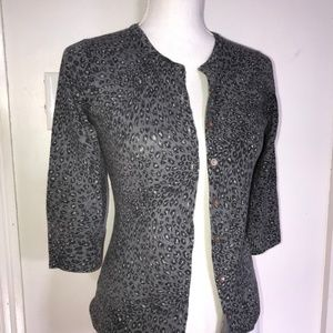 Aqua Gray Black Leopard Print Cashmere Cardigan